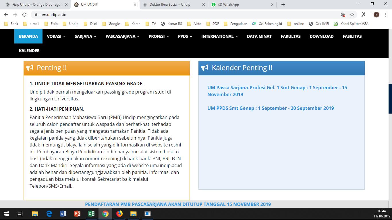 Kalender Pendaftaran Semester Genap, Gel. 2 Th. 2019